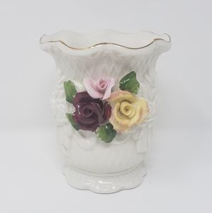 Small White Floral Decorative Ceramic Vase
